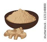 ginger root and ginger powder ... | Shutterstock .eps vector #1121148800