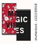 flower print and slogan. for t... | Shutterstock .eps vector #1121150018