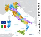 vector political map of italy... | Shutterstock .eps vector #1121163623