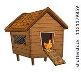 cartoon chicken coop and hen... | Shutterstock .eps vector #1121179859