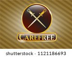 gold emblem with crossed... | Shutterstock .eps vector #1121186693
