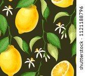 seamless pattern with lemons | Shutterstock .eps vector #1121188796