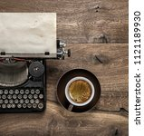 antique typewriter with grungy... | Shutterstock . vector #1121189930
