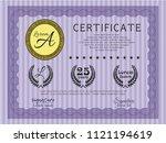 violet diploma. modern design.... | Shutterstock .eps vector #1121194619