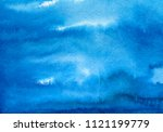 hand painted blue watercolor... | Shutterstock . vector #1121199779