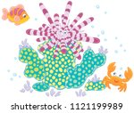 striped long spine sea urchin ... | Shutterstock .eps vector #1121199989