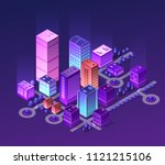 isometric city set of violet... | Shutterstock .eps vector #1121215106