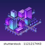 isometric city set of violet... | Shutterstock .eps vector #1121217443