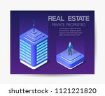 isometric city business card... | Shutterstock .eps vector #1121221820