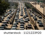 Sao Paulo, SP, Brazil, April 04, 2017. Heavy traffic on the East-West connection, Radial Leste Avenue, at morning day, in downtown Sao Paulo. - stock photo