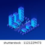 isometric city set of violet... | Shutterstock .eps vector #1121229473