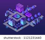 isometric city set of violet... | Shutterstock .eps vector #1121231660