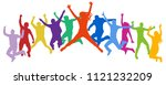 cheerful crowd jumping people.... | Shutterstock .eps vector #1121232209