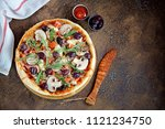 homemade pizza with smoked meat ... | Shutterstock . vector #1121234750
