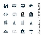 tourist icon. collection of 16...   Shutterstock .eps vector #1121246774