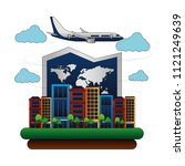 airplane flying with buildings... | Shutterstock .eps vector #1121249639