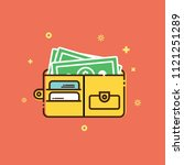 wallet icon of flat line style  ... | Shutterstock .eps vector #1121251289