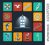 set of icons on a sea theme....   Shutterstock .eps vector #1121257223