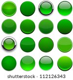set of blank round green...
