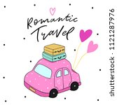 romantic illustration car and... | Shutterstock .eps vector #1121287976