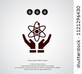 atom on hand icon. simple... | Shutterstock .eps vector #1121296430