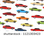 cartoon muscle cars. seamless... | Shutterstock .eps vector #1121303423