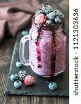 blueberry chia seed pudding | Shutterstock . vector #1121303636