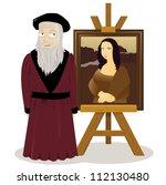 a vector cartoon representing an easel with a Mona lisa and Leonardo Da Vinci