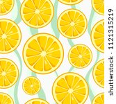 lemon slices seamless pattern... | Shutterstock .eps vector #1121315219