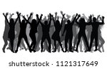 crowd. silhouettes of cheerful... | Shutterstock .eps vector #1121317649