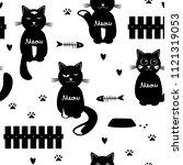 cute cats seamless pattern....   Shutterstock .eps vector #1121319053