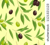branches green and black olives ... | Shutterstock .eps vector #1121321123