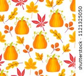 seamless pattern with autumn... | Shutterstock .eps vector #1121325050