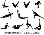 eleven pilates silhouettes of... | Shutterstock .eps vector #112132859
