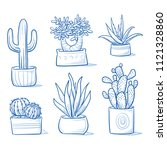 set of different succulents and ... | Shutterstock .eps vector #1121328860
