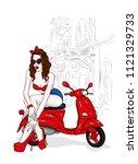 a tall slender girl in short... | Shutterstock .eps vector #1121329733