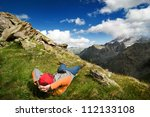 man hiking in mountain | Shutterstock . vector #112133108