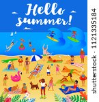 hello summer  lots of people on ... | Shutterstock .eps vector #1121335184