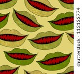halloween bloody mouth seamless pattern - stock vector