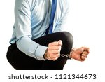 the man is trying to free... | Shutterstock . vector #1121344673