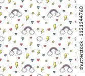 cute colorful seamless pattern... | Shutterstock .eps vector #1121344760