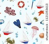vector pattern with sea regatta ...   Shutterstock .eps vector #1121353613