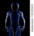 low key silhouette of a biker... | Shutterstock . vector #112135613