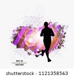 silhouette of marathon runner | Shutterstock .eps vector #1121358563
