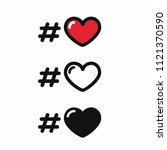 vector set of love icons. red ... | Shutterstock .eps vector #1121370590