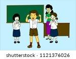 great student cartoon | Shutterstock .eps vector #1121376026