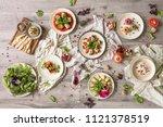 food table celebration...   Shutterstock . vector #1121378519