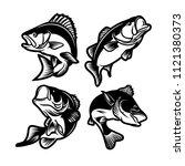 set of big bass fish... | Shutterstock .eps vector #1121380373