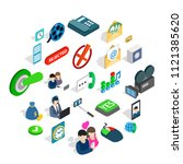 society icons set. isometric... | Shutterstock .eps vector #1121385620
