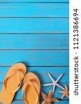 flip flops star fish summer...   Shutterstock . vector #1121386694